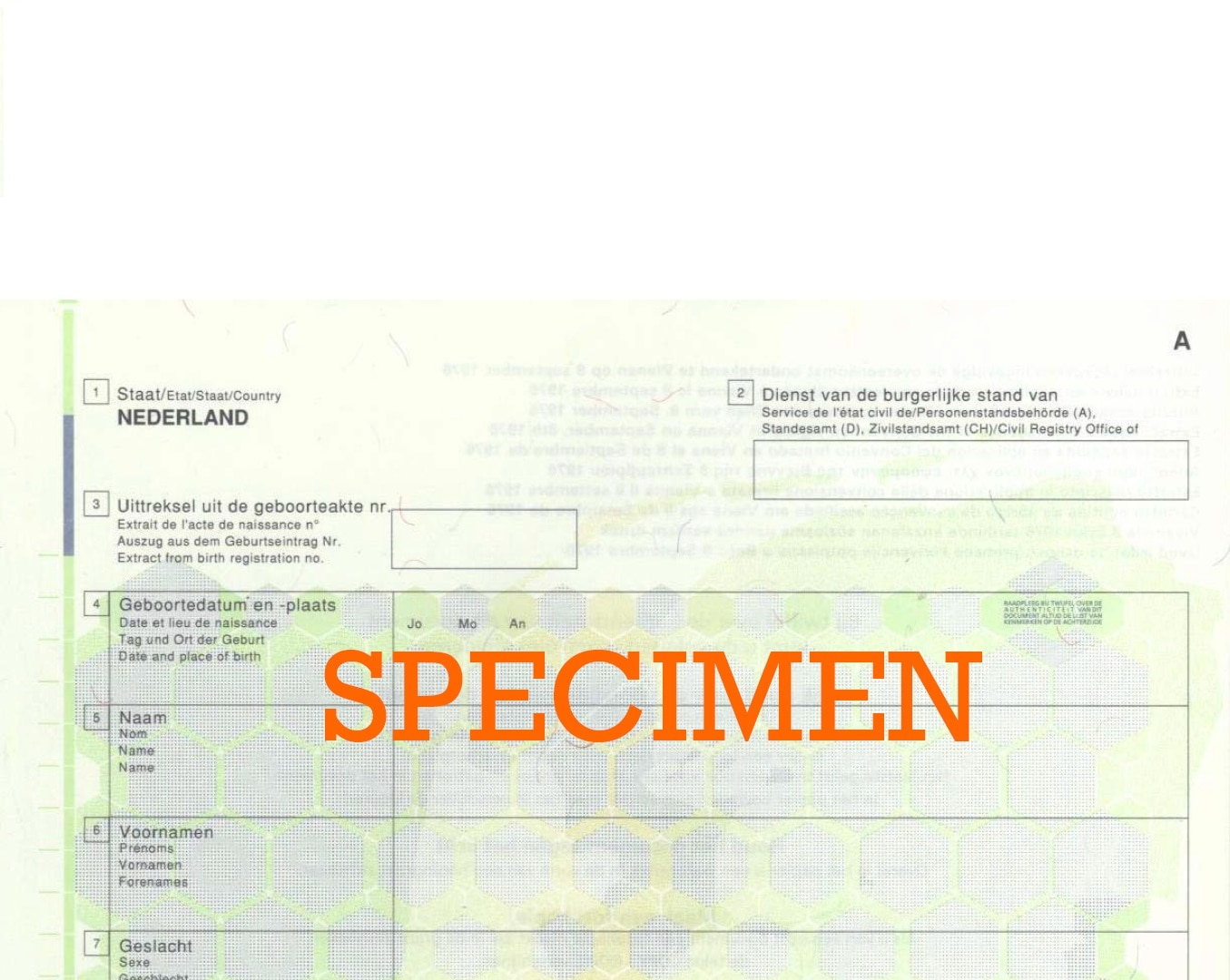 Sample of correct Dutch Birth Certificate for CRBA – Sample Birth Certificate