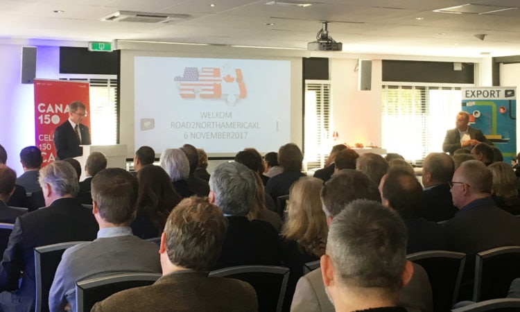 Chargé d'Affaires Crowley speaks to Dutch entrepreneurs at the Road2NorthAmerica XL event. The networking event, organized by Rijksdienst voor Ondernemend Nederland - RVO.nl and the Kamer van Koophandel, supports Dutch companies wanting to do business in the United States and Canada.
